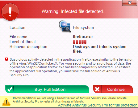 Antivirus Security Pro pop up